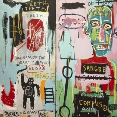 <p><i>In Italian</i>, 1983. Acrylic, oil paintstick, and marker on canvas mounted on wood supports, two panels. The Stephanie and Peter Brant Foundation, Greenwich, Connecticut</p>