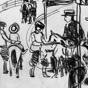 <p>George Benjamin Luks (American, 1867–1933). <i>Pony Ride</i>, undated. Black conté crayon on wove paper. Brooklyn Museum, Dick S. Ramsay Fund, 58.43.5</p>