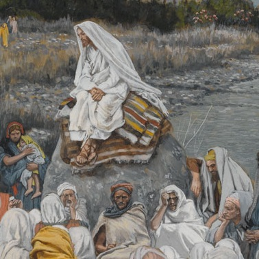 <p>James Tissot (French, 1836–1902). <i>Jesus Sits by the Seashore and Preaches</i>, 1886–96. Opaque watercolor over graphite on gray wove paper, 10<sup>3</sup>⁄<sub>16</sub> x 7<sup>9</sup>⁄<sub>16</sub> in. (25.9 x 19.2 cm). Brooklyn Museum, Purchased by public subscription, 00.159.109</p>