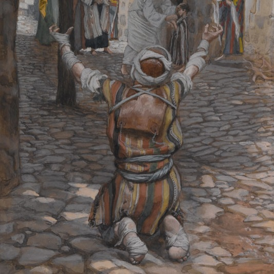 <p>James Tissot (French, 1836–1902). <i>Healing of the Lepers at Capernaum</i>, 1886–94. Opaque watercolor over graphite on gray wove paper, 11<sup>1</sup>⁄<sub>4</sub> x 6<sup>3</sup>⁄<sub>16</sub> in. (28.6 x 15.7 cm). Brooklyn Museum, Purchased by public subscription, 00.159.89</p>