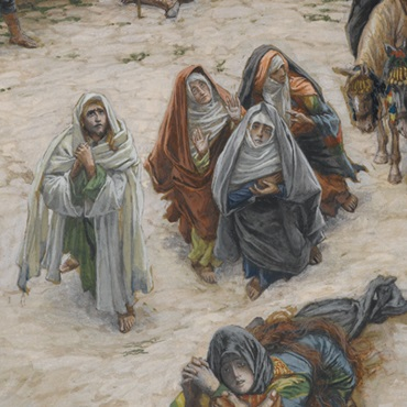 <p>James Tissot (French, 1836–1902). <i>What Our Lord Saw from the Cross</i>, 1886–94. Opaque watercolor over graphite on gray-green wove paper, 9<sup>3</sup>⁄<sub>4</sub> x 9<sup>1</sup>⁄<sub>6</sub> in. (24.8 x 23 cm). Brooklyn Museum, Purchased by public subscription, 00.159.299</p>