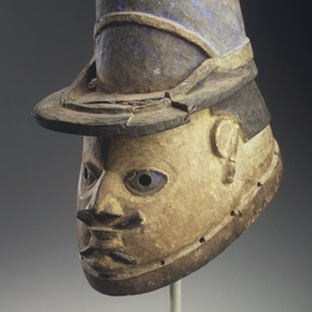 <p><i>Gelede Mask of a French Gendarme</i>. Unidentified Yoruba artist, late 19th or early 20th century. Benin. Wood, pigment, 10 x 7 x 11 in. (25.4 x 17.8 x 27.9 cm). Gift of Eugene and Harriet Becker, 1991.226.3</p>