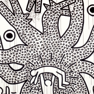 <p>Keith Haring (American, 1958–1990). <i>Untitled</i>, 1982. Sumi ink on paper, 107 x 160 in. (271.8 x 406.4 cm). Collection Keith Haring Foundation. © Keith Haring Foundation</p>
