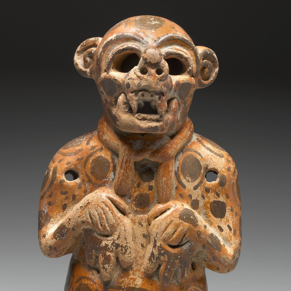 <p>Maya artist. <i>Effigy Vessel in the Form of a Jaguar Impersonator</i>, 400–500. Mexico or Peten, Guatemala. Ceramic, pigment, 7 x 4<sup>1</sup>⁄<sub>4</sub> x 3 in. (17.8 x 10.8 x 7.6 cm). Brooklyn Museum, Gift in memory of Frederic Zeller, 2009.2.11</p>