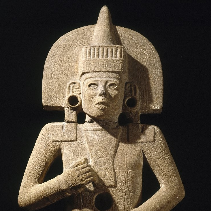 <p>Huastec artist. <i>Life-Death Figure</i>, 900–1250. Possibly found at the site of Chilitujú near San Vicente Tancuayalab, San Luis Potosí, Mexico. Sandstone, traces of pigment, 62<sup>3</sup>⁄<sub>8</sub> x 26 x 11<sup>1</sup>⁄<sub>2</sub> in. (158.4 x 66 x 29.2 cm). Brooklyn Museum, Frank Sherman Benson Fund and the Henry L. Batterman Fund, 37.2897PA</p>