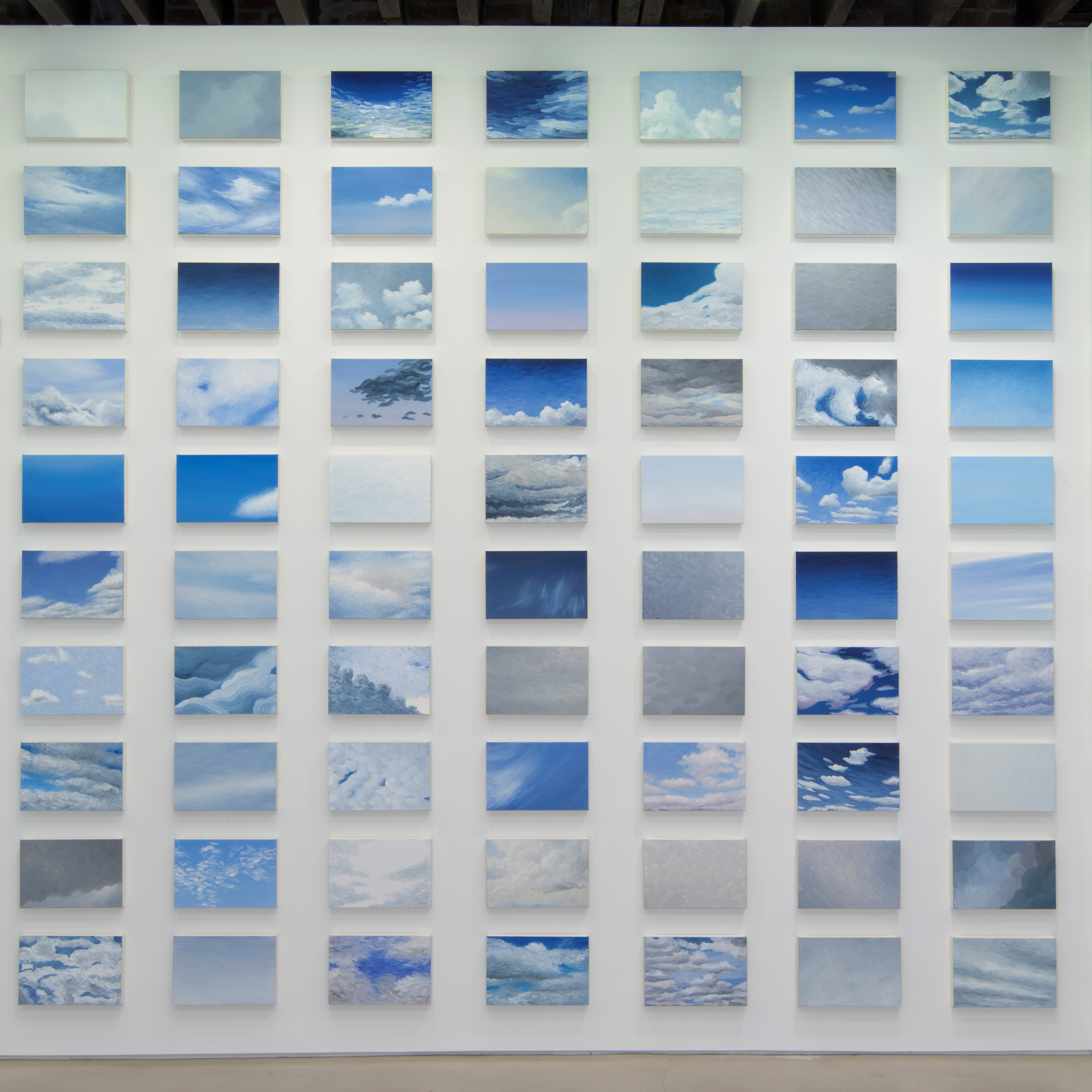<p>Cynthia Daignault (American, b. 1978). <i>I love you more than one more day</i>, 2013. Oil on linen, 365 paintings: 10 x 15 in. (25.4 x 38.1 cm) each; overall dimensions variable. Installation view:<b> </b><i>Which Is the Sun and Which Is the Shadow?</i>, Lisa Cooley, New York, 2013. Collection of Marsha and John Kleinheinz, Fort Worth, Texas. Courtesy of the artist and Lisa Cooley, New York © Cynthia Daignault. Photo: John Berens</p>
