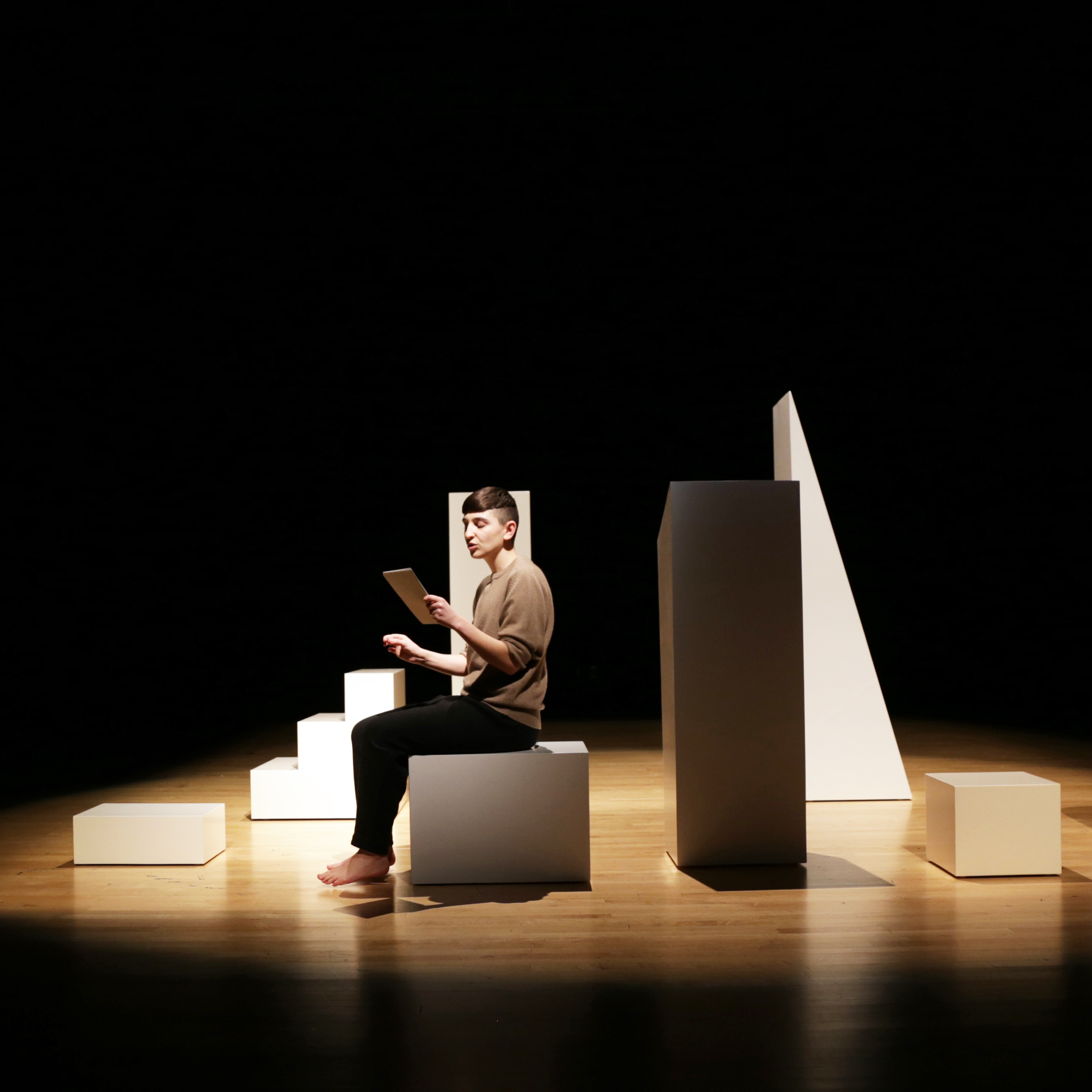 """<p>Gordon Hall (American, b. 1983). <i>""""Read me that part a-gain, where I disin-herit everybody,""""</i> 2014. Wood, paint, and performance-lecture with projected images and colored light, dimensions variable. Commissioned by EMPAC/Experimental Media and Performance Arts Center, Rensselaer Polytechnic Institute, Troy, New York. Courtesy of the artist. © Gordon Hall. Photo: Ryan Jenkins</p>"""