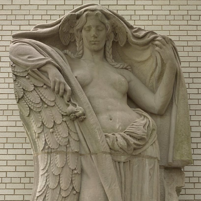 <p>Adolph Alexander Weinman (American, 1870–1952). <i>Night, Clock Figure from Pennsylvania Station, 31st to 33rd Streets between 7th and 8th Avenues, NYC</i>, circa 1910. Pink granite, with base: 152 x 86 x 52 in. (386.1 x 218.4 x 132.1 cm). Brooklyn Museum, Gift of Lipsett Demolition Co. and Youngstown Cartage, 66.250.1</p>