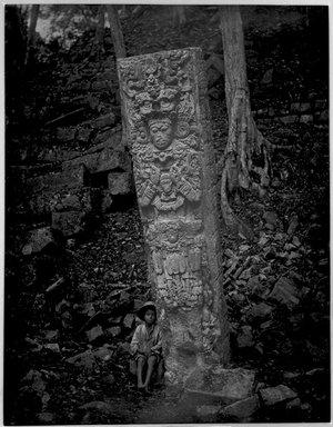 """Copan. Stela P, West Face."", 1885. B/w copy negative, 4 x 5in (10.2 x 12.8 cm). Brooklyn Museum, Maudslay. (F1435_M442_Maudslay_011.jpg)"