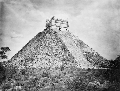 """Chichen Itza. The Castillo, Looking South-East."", 1889. B/w copy negative, 4 x 5in (10.2 x 12.8 cm). Brooklyn Museum, Maudslay. (F1435_M442_Maudslay_029_SL3.jpg)"