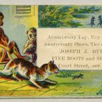 Tradecard. Joseph J. Byers. Fine Boots and Shoes. 110 Court St. Brooklyn, NY. Recto.