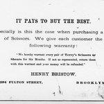 Tradecard. Henry Bristow. 296 Fulton St. Brooklyn, NY. Recto.