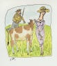 Untitled (Cow Adoring Lady and Getting Scolded by Farmer)