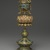 Buddhist Ritual Object in Form of a Canopy on Lotus Base, 1736-1795. Cloisonne enamel on copper alloy, overall: 15 x 4 3/4 in. (38.1 x 12.1 cm). Brooklyn Museum, Gift of Samuel P. Avery, Jr., 09.662. Creative Commons-BY (Photo: Brooklyn Museum, 09.662_PS2.jpg)