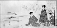 Brooklyn Museum: Ladies on a Terrace Watching Birds in the Snow
