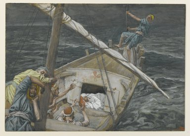 James Tissot (French, 1836-1902). Jesus Sleeping During the Tempest (Jésus dormant pendant la tempête), 1886-1896. Opaque watercolor over graphite on gray wove paper, Image: 5 1/2 x 7 11/16 in. (14 x 19.5 cm). Brooklyn Museum, Purchased by public subscription, 00.159.101