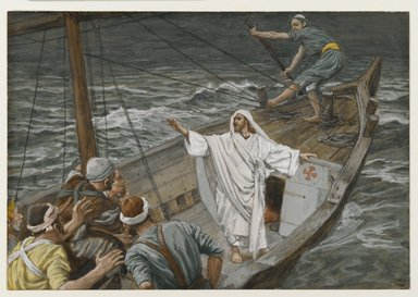 James Tissot (French, 1836-1902). Jesus Stilling the Tempest (Jésus calmant la tempête), 1886-1894. Opaque watercolor over graphite on gray wove paper, Image: 5 x 7 1/4 in. (12.7 x 18.4 cm). Brooklyn Museum, Purchased by public subscription, 00.159.102