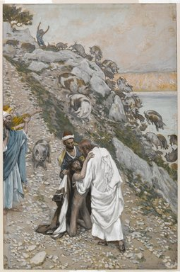James Tissot (French, 1836-1902). The Swine Driven into the Sea (Les porcs précipités dans la mer), 1886-1896. Opaque watercolor over graphite on gray wove paper, Image: 10 3/16 x 6 11/16 in. (25.9 x 17 cm). Brooklyn Museum, Purchased by public subscription, 00.159.107