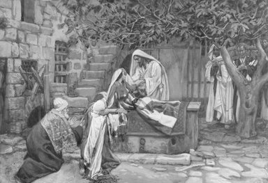 James Tissot (French, 1836-1902). The Daughter of Jairus (La fille de Zäire), 1886-1896. Opaque watercolor over graphite on gray wove paper, Image: 7 7/16 x 10 7/8 in. (18.9 x 27.6 cm). Brooklyn Museum, Purchased by public subscription, 00.159.108