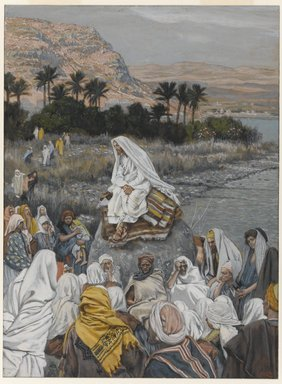 James Tissot (French, 1836-1902). Jesus Sits by the Seashore and Preaches (Jésus s'assied au bord de la mer et prêche), 1886-1896. Opaque watercolor over graphite on gray wove paper, Sheet: 10 3/16 x 7 9/16 in. (25.9 x 19.2 cm). Brooklyn Museum, Purchased by public subscription, 00.159.109