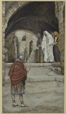 James Tissot (French, 1836-1902). Lord, I Am Not Worthy (Domine Non Sum Dignus), 1886-1896. Opaque watercolor over graphite on gray wove paper, image: 10 1/4 x 5 11/16 in. (26 x 14.4 cm). Brooklyn Museum, Purchased by public subscription, 00.159.112