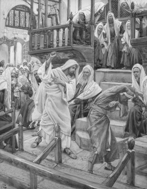 James Tissot (French, 1836-1902). Jesus Chases a Possessed Man from the Synagogue (Jésus chasse un possédé de la synagogue), 1886-1896. Opaque watercolor over graphite on gray wove paper, Image: 9 3/16 x 7 1/8 in. (23.3 x 18.1 cm). Brooklyn Museum, Purchased by public subscription, 00.159.113
