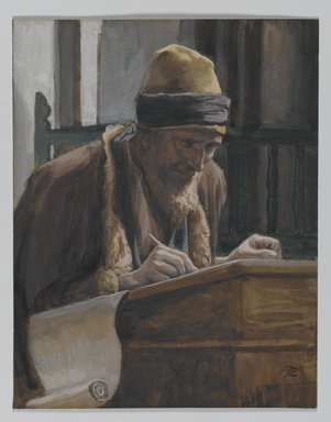 James Tissot (French, 1836-1902). Saint Mark (Saint Marc), 1886-1894. Opaque watercolor over graphite on gray wove paper, Image: 6 x 4 5/8 in. (15.2 x 11.7 cm). Brooklyn Museum, Purchased by public subscription, 00.159.114