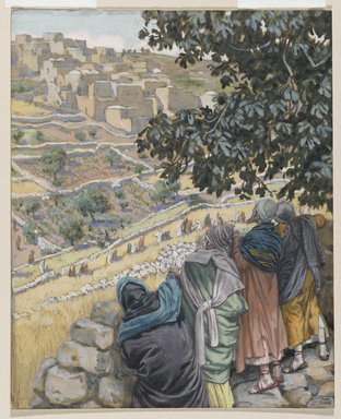 James Tissot (French, 1836-1902). The Disciples Eat Wheat on the Sabbath (Les disciples mangent du blé au sabbat), 1886-1896. Opaque watercolor over graphite on gray wove paper, Image: 8 1/16 x 6 1/2 in. (20.5 x 16.5 cm). Brooklyn Museum, Purchased by public subscription, 00.159.116