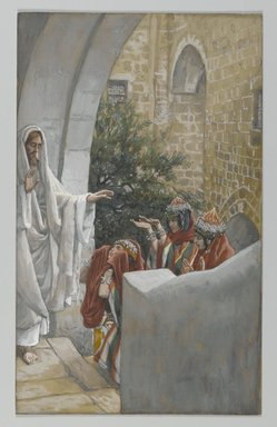 James Tissot (French, 1836-1902). The Canaanite's Daughter (La Chananéenne), 1886-1896. Opaque watercolor over graphite on gray wove paper, Image: 9 1/16 x 5 9/16 in. (23 x 14.1 cm). Brooklyn Museum, Purchased by public subscription, 00.159.117