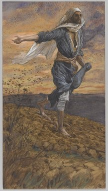James Tissot (French, 1836-1902). The Sower (Le semeur), 1886-1894. Opaque watercolor over graphite on gray wove paper, Image: 9 3/4 x 5 3/8 in. (24.8 x 13.7 cm). Brooklyn Museum, Purchased by public subscription, 00.159.119