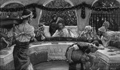 James Tissot (French, 1836-1902). The Meal in the House of the Pharisee (Le repas chez le pharisien), 1886-1896. Opaque watercolor over graphite on gray wove paper, Image: 4 13/16 x 8 1/8 in. (12.2 x 20.6 cm). Brooklyn Museum, Purchased by public subscription, 00.159.120