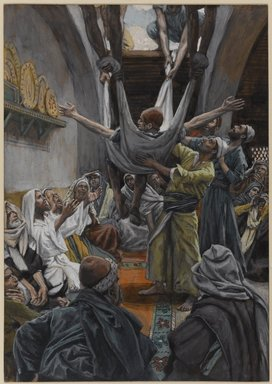 James Tissot (French, 1836-1902). The Palsied Man Let Down through the Roof (Le paralytique descendu du toit), 1886-1896. Opaque watercolor over graphite on gray wove paper, Image: 9 5/16 x 6 9/16 in. (23.7 x 16.7 cm). Brooklyn Museum, Purchased by public subscription, 00.159.123
