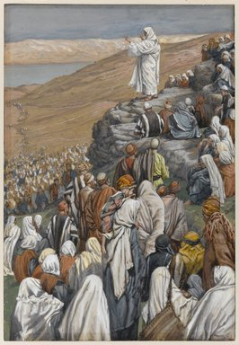 James Tissot (French, 1836-1902). The Sermon of the Beatitudes (La sermon des béatitudes), 1886-1896. Opaque watercolor over graphite on gray wove paper, Image: 9 5/8 x 6 7/16 in. (24.4 x 16.4 cm). Brooklyn Museum, Purchased by public subscription, 00.159.124