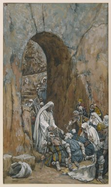 James Tissot (French, 1836-1902). He Did No Miracles But He Healed Them (Il ne fit pas des miracles mais il guérit), 1886-1896. Opaque watercolor over graphite on gray wove paper, Image: 9 1/2 x 5 1/2 in. (24.1 x 14 cm). Brooklyn Museum, Purchased by public subscription, 00.159.125