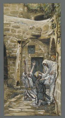 James Tissot (French, 1836-1902). The Blind of Capernaum (Les aveugles de Capharnum), 1886-1896. Opaque watercolor over graphite on gray wove paper, Image: 10 1/2 x 5 3/8 in. (26.7 x 13.7 cm). Brooklyn Museum, Purchased by public subscription, 00.159.126