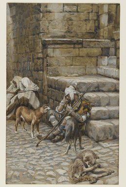James Tissot (French, 1836-1902). The Poor Lazarus at the Rich Man's Door (Le pauvre Lazare à la porte du riche), 1886-1894. Opaque watercolor over graphite on gray wove paper, Image: 10 3/4 x 6 11/16 in. (27.3 x 17 cm). Brooklyn Museum, Purchased by public subscription, 00.159.127