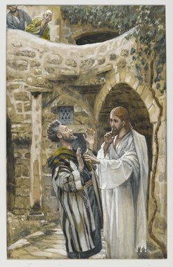 James Tissot (French, 1836-1902). Jesus Heals a Mute Possessed Man (Jésus guérit un possédé muet), 1886-1896. Opaque watercolor over graphite on gray wove paper, Image: 9 13/16 x 6 3/16 in. (24.9 x 15.7 cm). Brooklyn Museum, Purchased by public subscription, 00.159.128
