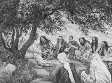 James Tissot (French, 1836-1902). The Exhortation to the Apostles (Recommandation aux apôtres), 1886-1896. Opaque watercolor over graphite on gray wove paper, Image: 6 1/2 x 8 3/4 in. (16.5 x 22.2 cm). Brooklyn Museum, Purchased by public subscription, 00.159.129