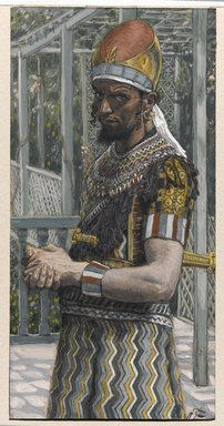 James Tissot (French, 1836-1902). Herod (Hérode), 1886-1894. Opaque watercolor over graphite on gray wove paper, Image: 6 3/16 x 3 3/16 in. (15.7 x 8.1 cm). Brooklyn Museum, Purchased by public subscription, 00.159.130