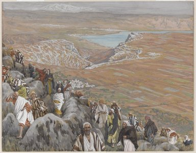James Tissot (French, 1836-1902). The People Seek Jesus to Make Him King (On cherche Jésus pour le faire roi), 1886-1896. Opaque watercolor over graphite on gray wove paper, Image: 7 5/16 x 9 3/8 in. (18.6 x 23.8 cm). Brooklyn Museum, Purchased by public subscription, 00.159.135