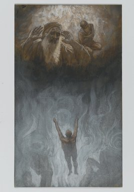James Tissot (French, 1836-1902). The Bad Rich Man in Hell (Le mauvais riche dans l'Enfer), 1886-1894. Opaque watercolor over graphite on gray wove paper, Image: 8 13/16 x 5 3/16 in. (22.4 x 13.2 cm). Brooklyn Museum, Purchased by public subscription, 00.159.136