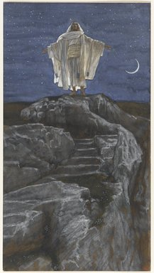 James Tissot (French, 1836-1902). Jesus Goes Up Alone onto a Mountain to Pray (Jésus monte seul sur une montagne pour prier), 1886-1894. Opaque watercolor over graphite on gray wove paper, Image: 11 3/8 x 6 1/4 in. (28.9 x 15.9 cm). Brooklyn Museum, Purchased by public subscription, 00.159.137