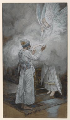 James Tissot (French, 1836-1902). The Vision of Zacharias (Vision de Zacharie), 1886-1894. Opaque watercolor over graphite on gray wove paper, Image: 9 3/8 x 5 1/4 in. (23.8 x 13.3 cm). Brooklyn Museum, Purchased by public subscription, 00.159.13