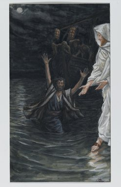 James Tissot (French, 1836-1902). Saint Peter Walks on the Sea (Saint Pierre marche sur la mer), 1886-1896. Opaque watercolor over graphite on gray wove paper, Image: 7 11/16 x 4 5/16 in. (19.5 x 11 cm). Brooklyn Museum, Purchased by public subscription, 00.159.140