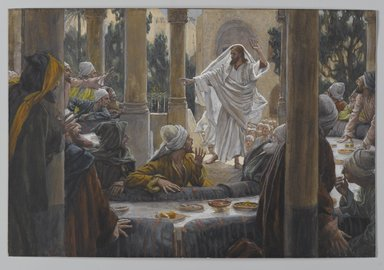 James Tissot (French, 1836-1902). Curses Against the Pharisees (Imprécations contre les pharisiens), 1886-1896. Opaque watercolor over graphite on gray wove paper, Image: 6 3/8 x 9 3/8 in. (16.2 x 23.8 cm). Brooklyn Museum, Purchased by public subscription, 00.159.142