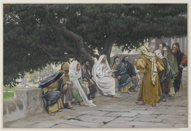 James Tissot (French, 1836-1902). The Pharisees and the Saduccees Come to Tempt Jesus (Les pharisiens et les saducéens viennent pour tenter Jésus), 1886-1894. Opaque watercolor over graphite on gray wove paper, Image: 7 1/2 x 11 3/16 in. (19.1 x 28.4 cm). Brooklyn Museum, Purchased by public subscription, 00.159.143