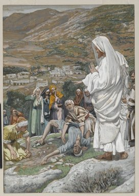 James Tissot (French, 1836-1902). Le possédé au pied du Thabor (The Possessed Boy at the Foot of Mount Tabor), 1886-1896. Opaque watercolor over graphite on gray wove paper, Image: 9 5/16 x 6 1/2 in. (23.7 x 16.5 cm). Brooklyn Museum, Purchased by public subscription, 00.159.146