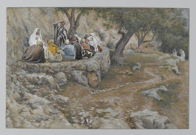 James Tissot (French, 1836-1902). The Primacy of Saint Peter (La primauté de Saint-Pierre), 1886-1896. Opaque watercolor over graphite on gray wove paper, Image: 6 3/4 x 10 3/16 in. (17.1 x 25.9 cm). Brooklyn Museum, Purchased by public subscription, 00.159.148