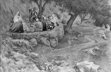 James Tissot (French, 1836-1902). The Primacy of Saint Peter (La primauté de Saint-Pierre), 1886-1896. Opaque watercolor over graphite on gray wove paper, Image: 6 3/4 x 10 3/16 in. (17.1 x 25.9 cm). Brooklyn Museum, Purchased by public subscription, 00.159.148