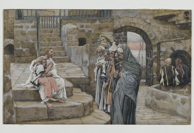 James Tissot (French, 1836-1902). Jesus and the Little Child (Jésus et le petit enfant), 1886-1896. Opaque watercolor over graphite on gray wove paper, Image: 5 3/4 x 9 3/8 in. (14.6 x 23.8 cm). Brooklyn Museum, Purchased by public subscription, 00.159.150